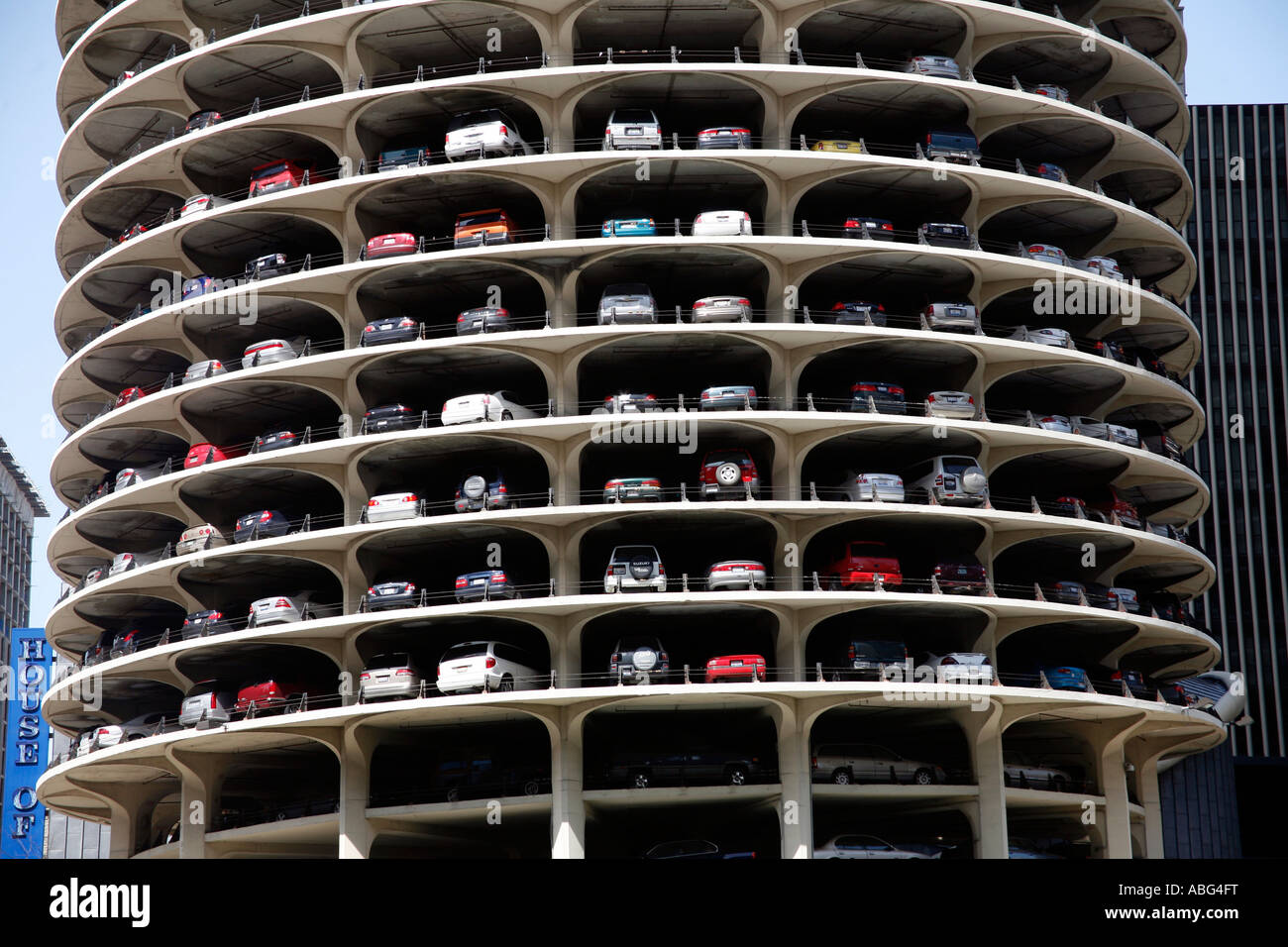 cars parked in the multi storey car park in marina city in chicago stock photo royalty free. Black Bedroom Furniture Sets. Home Design Ideas