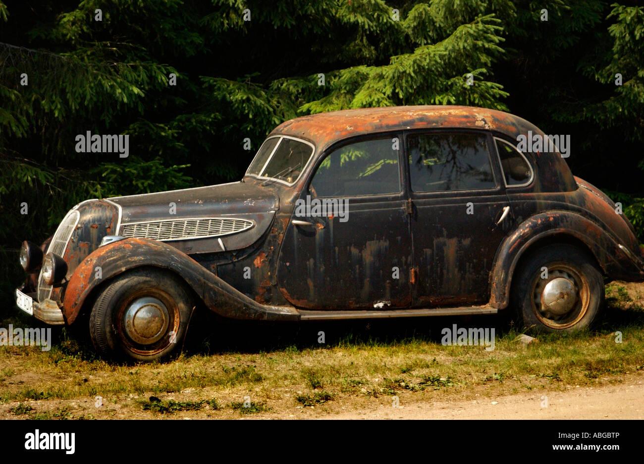 Old car on a farm near Sangaste Southern Estonia Stock Photo ...