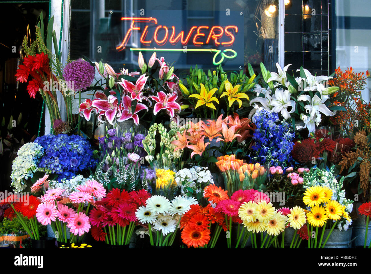 Group Assorted Cut Flowers In Front Flower Shop San Stock