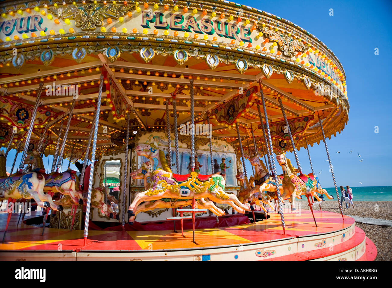 Stock photo vintage merry go round on brighton seafront east sussex