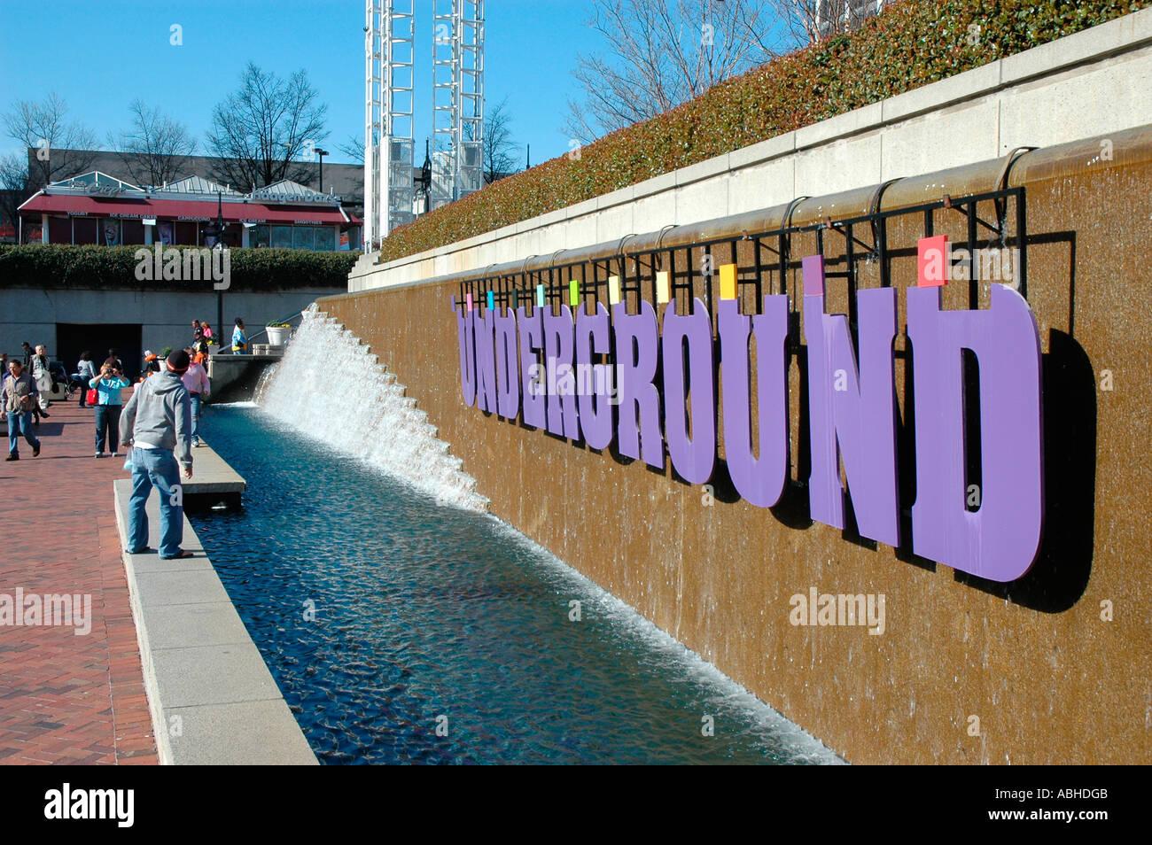 Georgian Souvenirs Stock Photos Georgian Souvenirs Stock: Underground Atlanta Signs Downtown Atlanta GA Georgia USA