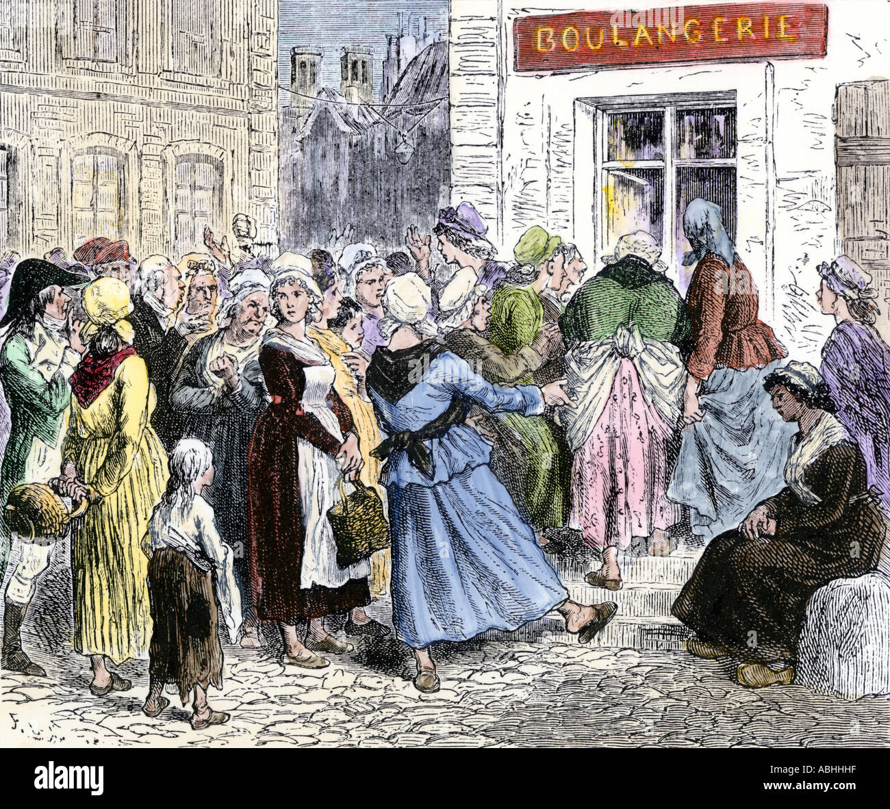 french revolution women stock photos french revolution women crowd of angry women at the door of a bakery during the french revolution stock