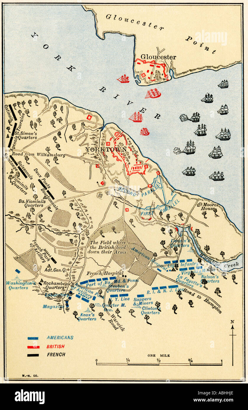 Map of the Battle of Yorktown where the British Army was defeated