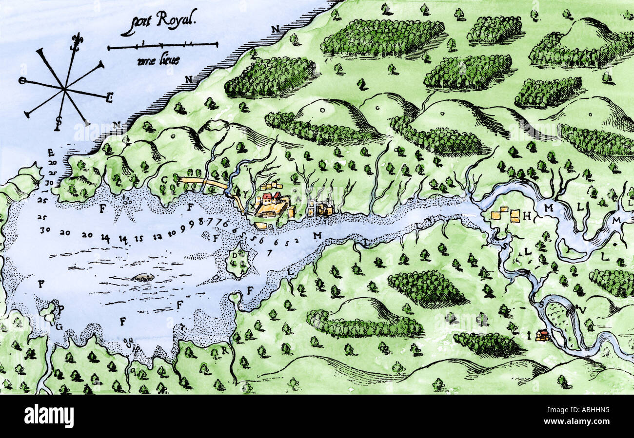Champlain Map Of His Settlement At Port Royal Now Annapolis Royal - Anápolis map