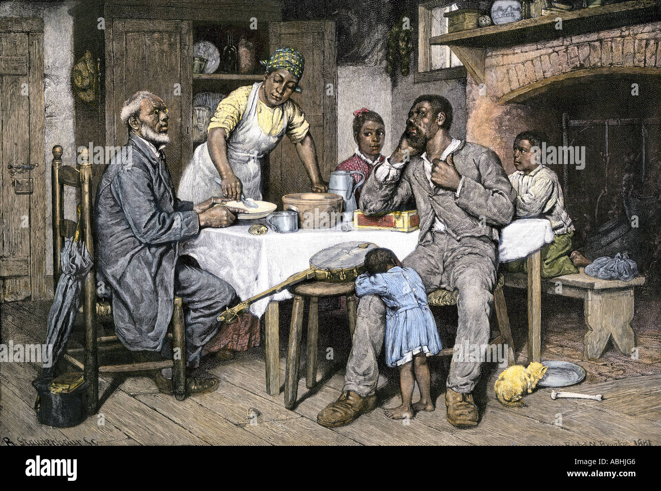 Visiting Pastor Having Dinner With An African American Family In The South 1880s