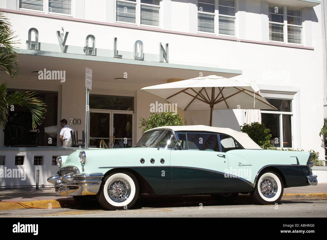 Classic car at Ocean Drive South Beach Miami Stock Photo, Royalty ...