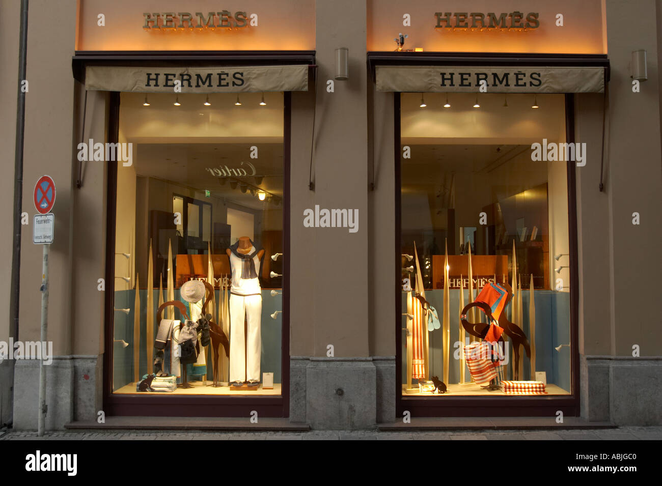 Windows Of A Hermes Store On Maximilianstrasse In Munich