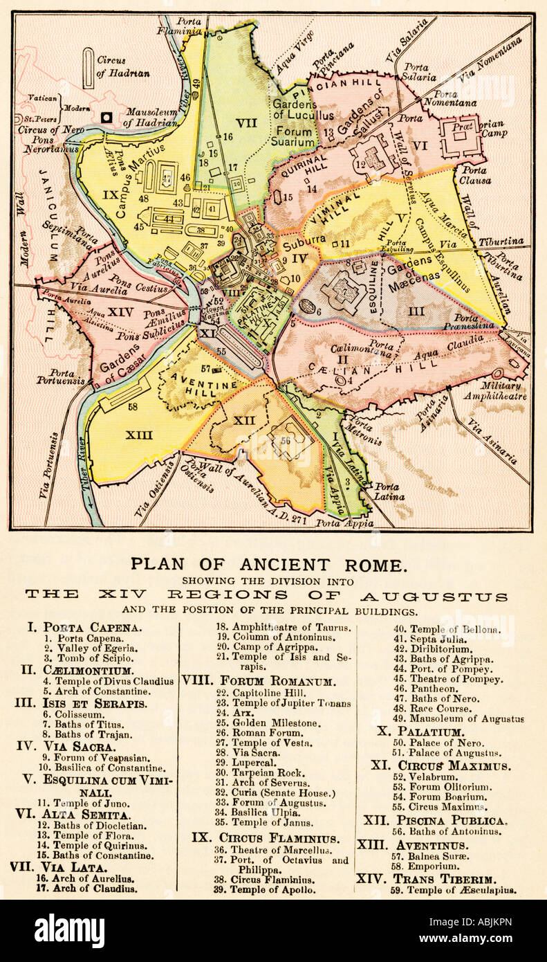 Map Of Ancient Rome Showing The Regions Of Caesar Augustus - Map of rome under caesar