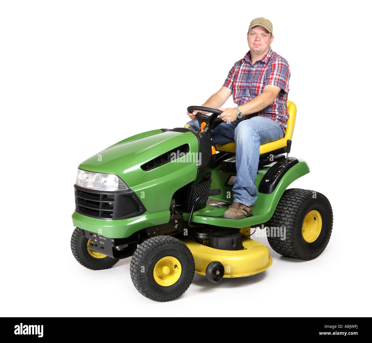 Lawn Tractor With Man Riding Cut Out On White Background