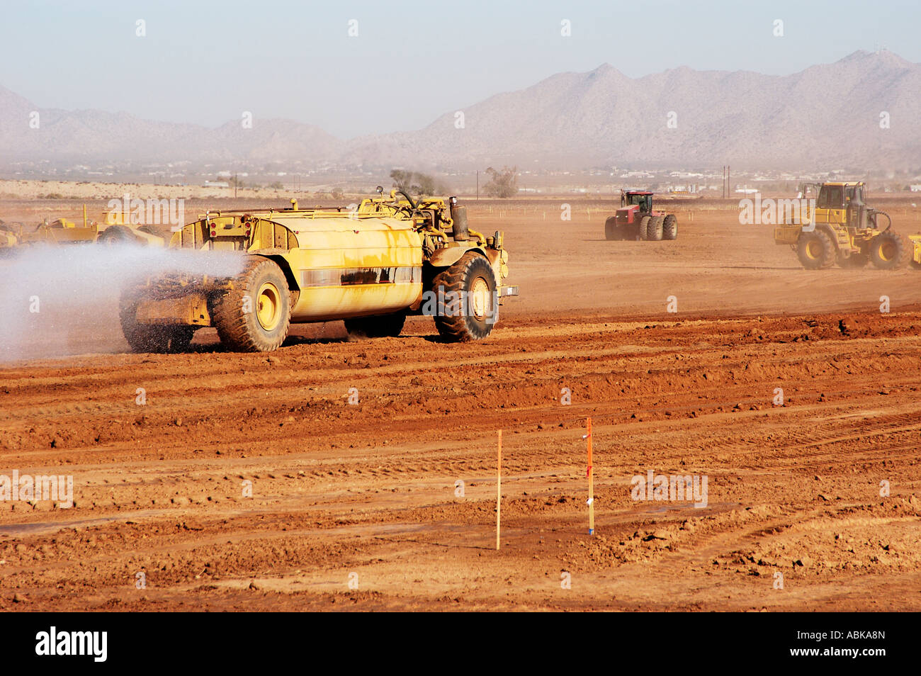 Dust control at a construction site in arizona stock photo royalty free image 12914372 alamy for Construction interior dust control