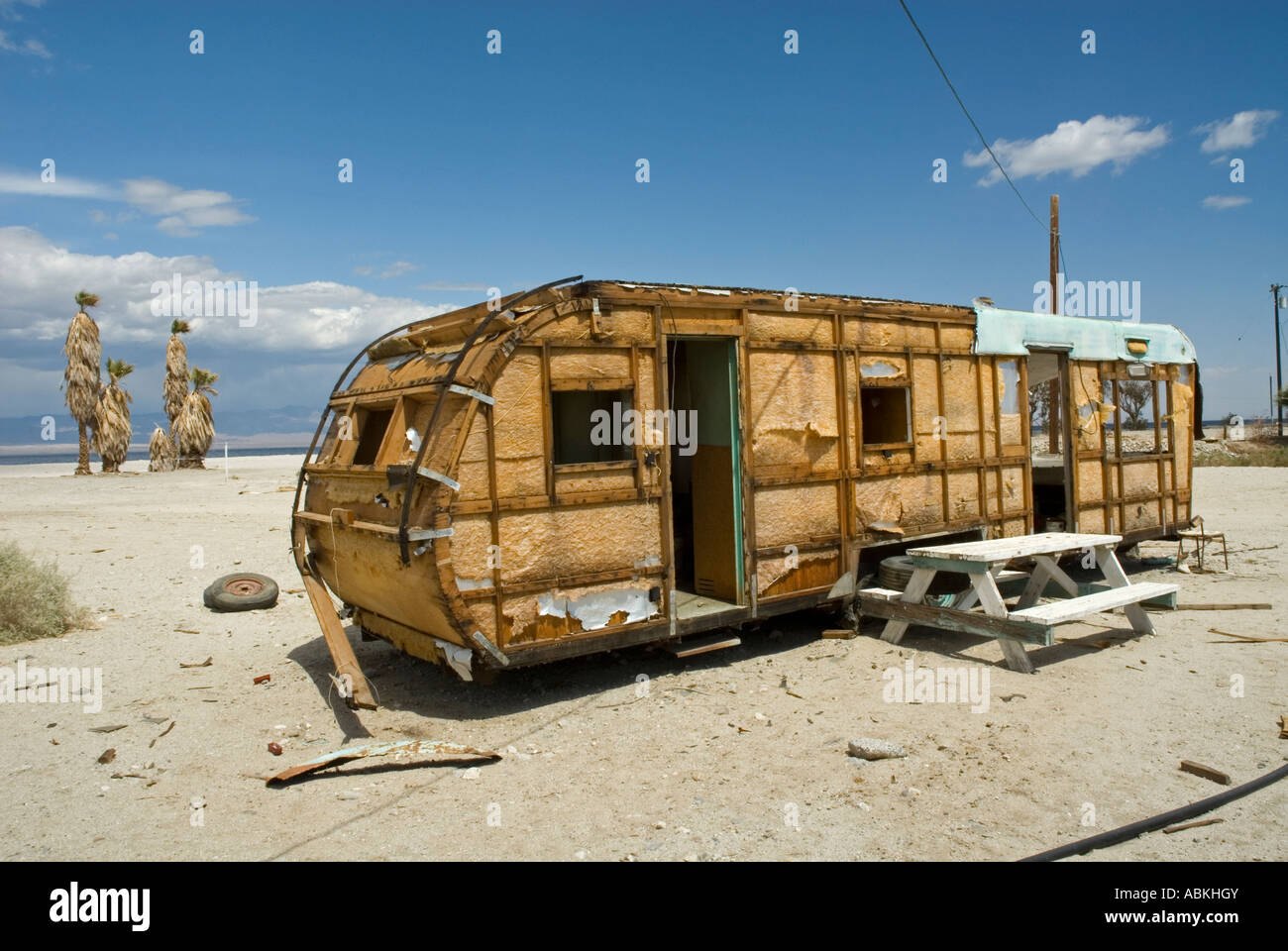 Exterior Of A Abandoned Mobile Home On The Shores Of The