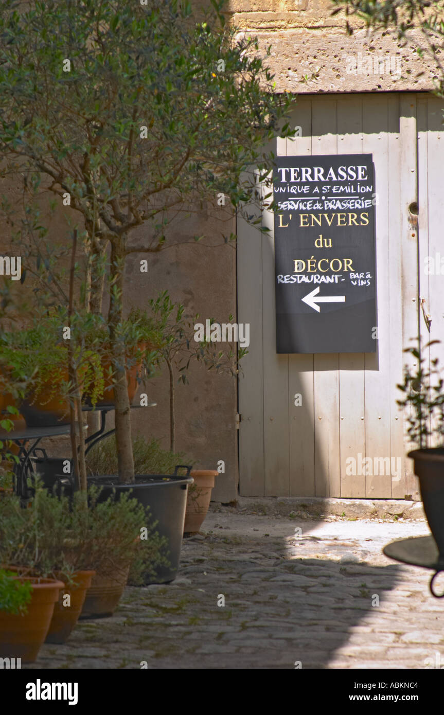 A sign indicating the restaurant L\'Envers du Decor and the ...