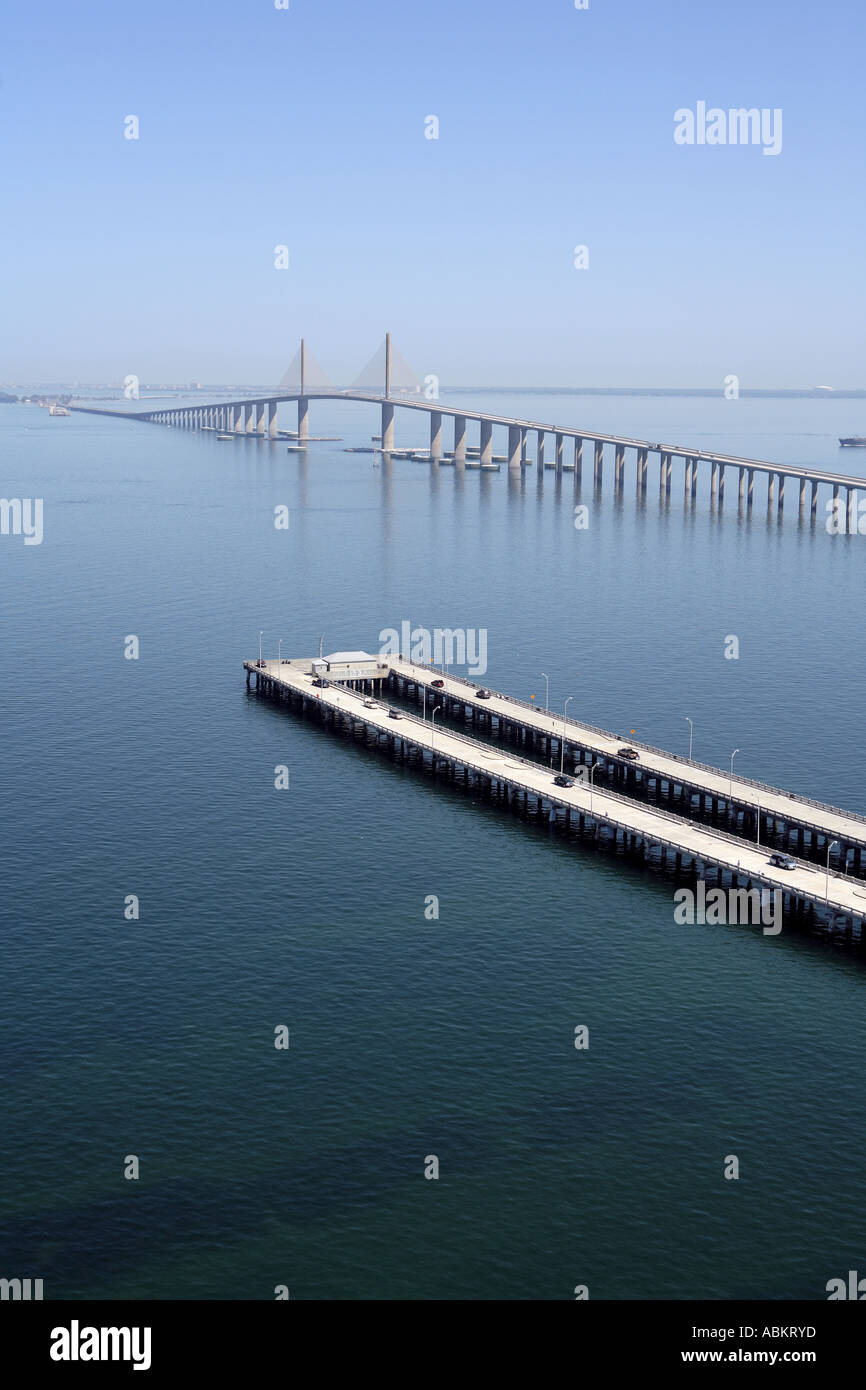 Scenic aerial photo of sunshine skyway bridge fishing pier for Skyway bridge fishing