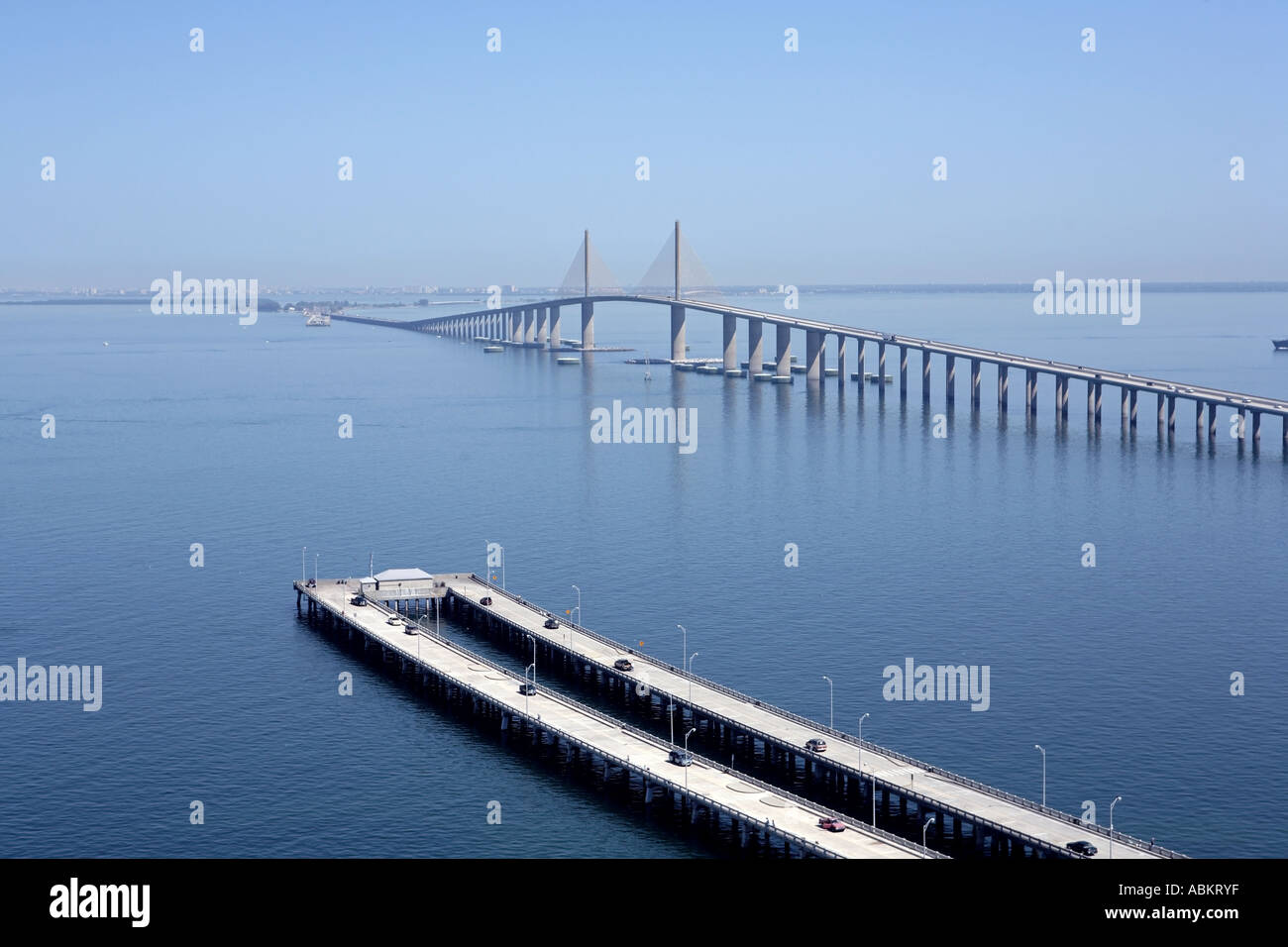 Scenic aerial photo of sunshine skyway bridge fishing pier for Sunshine skyway fishing pier
