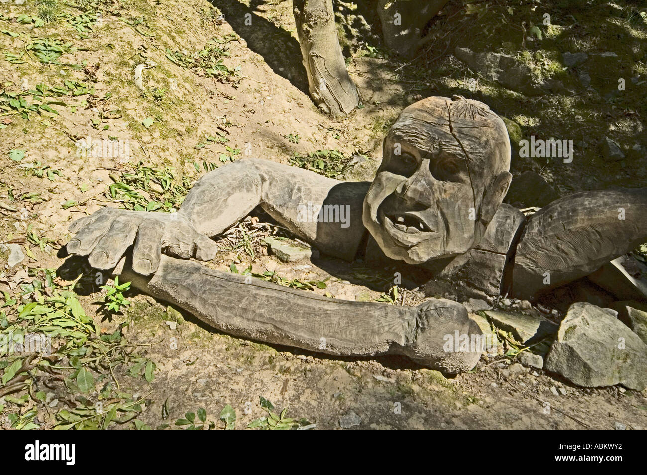 Wood carving of a Troll on the Sculpture Trail at the Crich