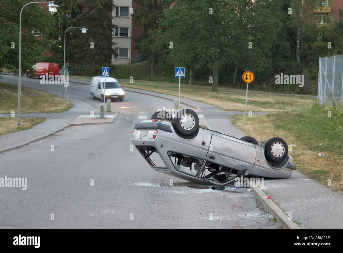 Car upside down stock image