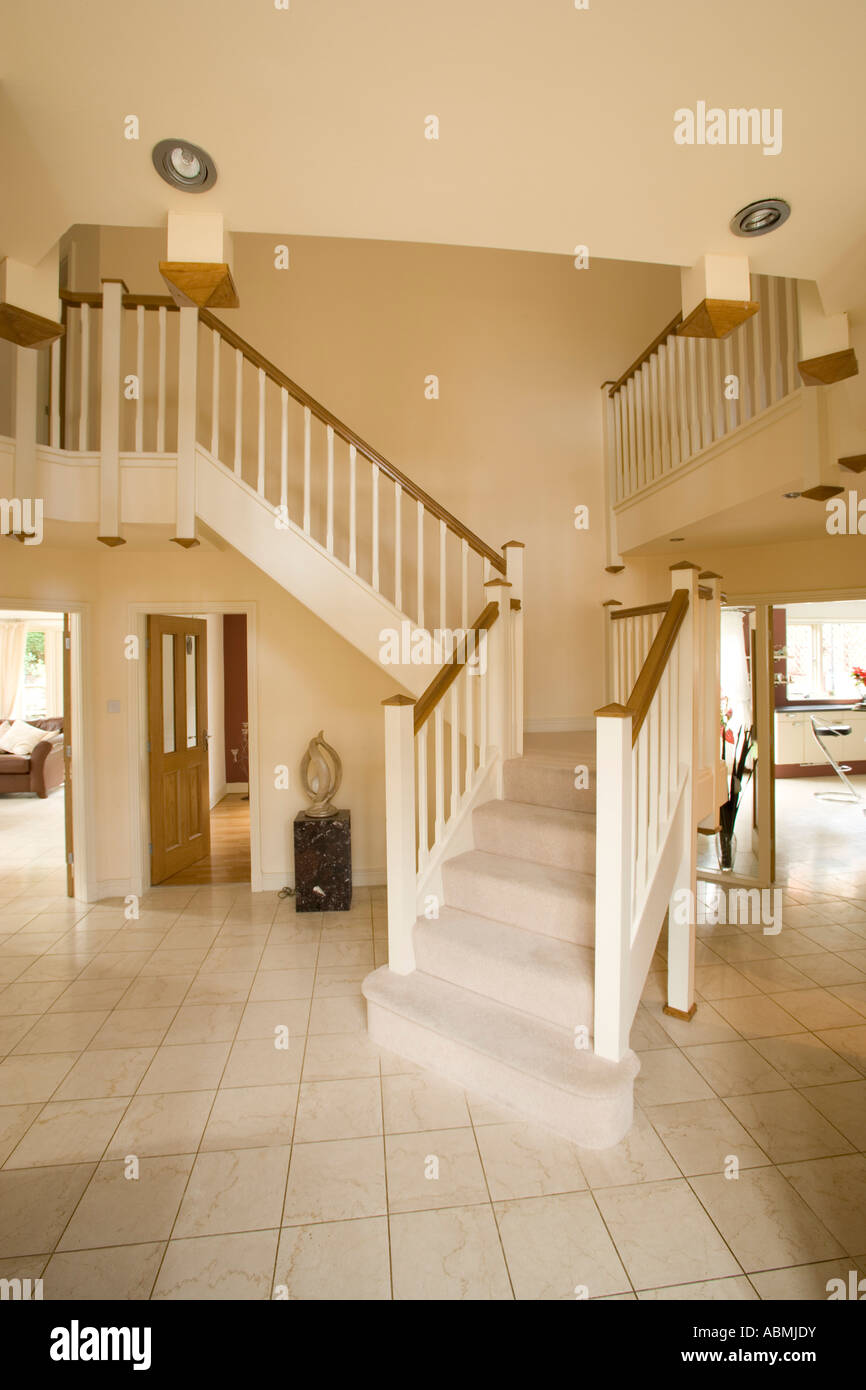 Entrance hall of large modern home with balcony stairway for Modern entrance hall