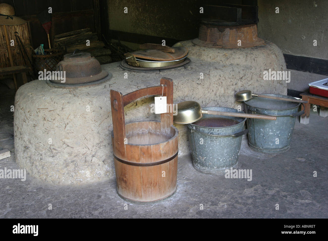Traditional japanese house kitchen stock photo royalty for Traditional japanese kitchen