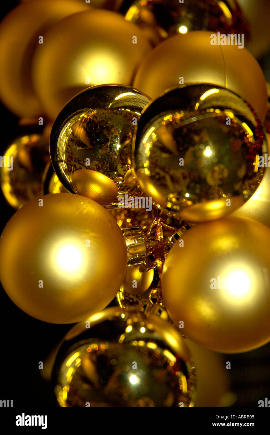 Christmas decor to hang from ceiling - Gold Baubles Christmas Decorations Hanging From Ceiling Display