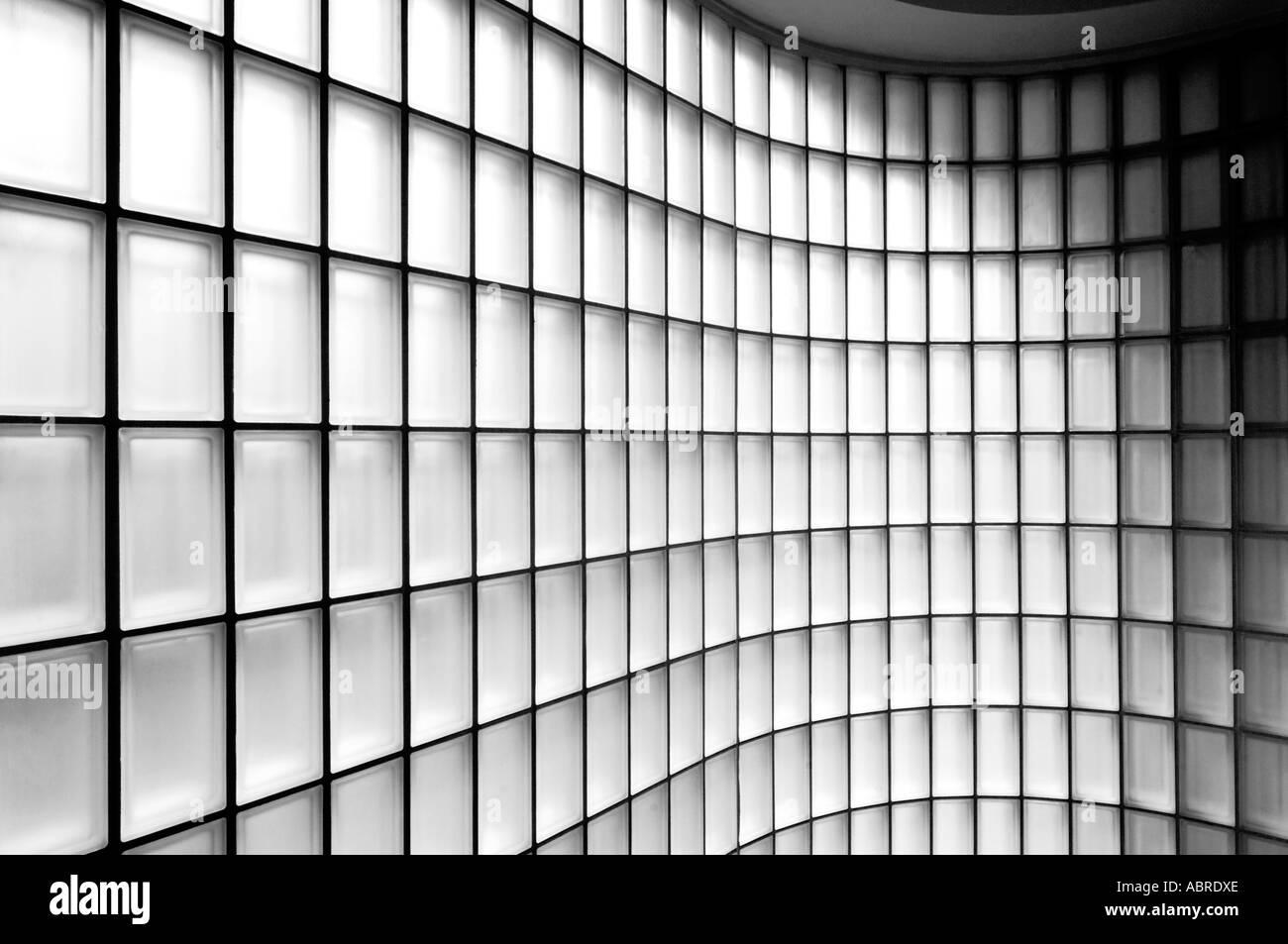 Glass Bricks Wall Design : Small square glass bricks in wall abstract design pattern