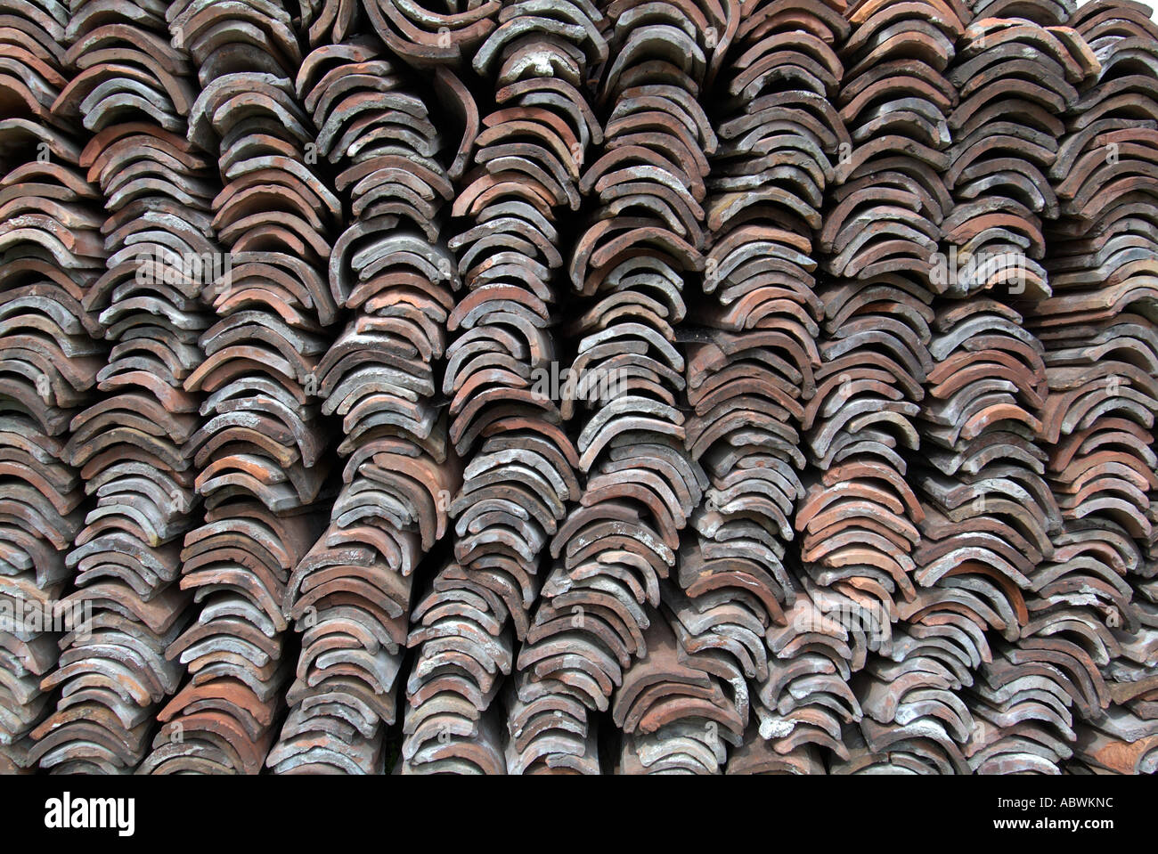 Stock Photo   Terracotta Antique Old Reclaimed Stacked Roof Tile Curved  Semi Circular Arc Pattern Texture Bulgaria Peoples Republic Narodna