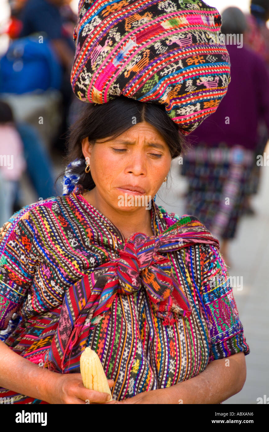 Colorful Print Patterned Clothes Of The Women In Famous Market Day Color Highlands Village Solola Guatemala Cov