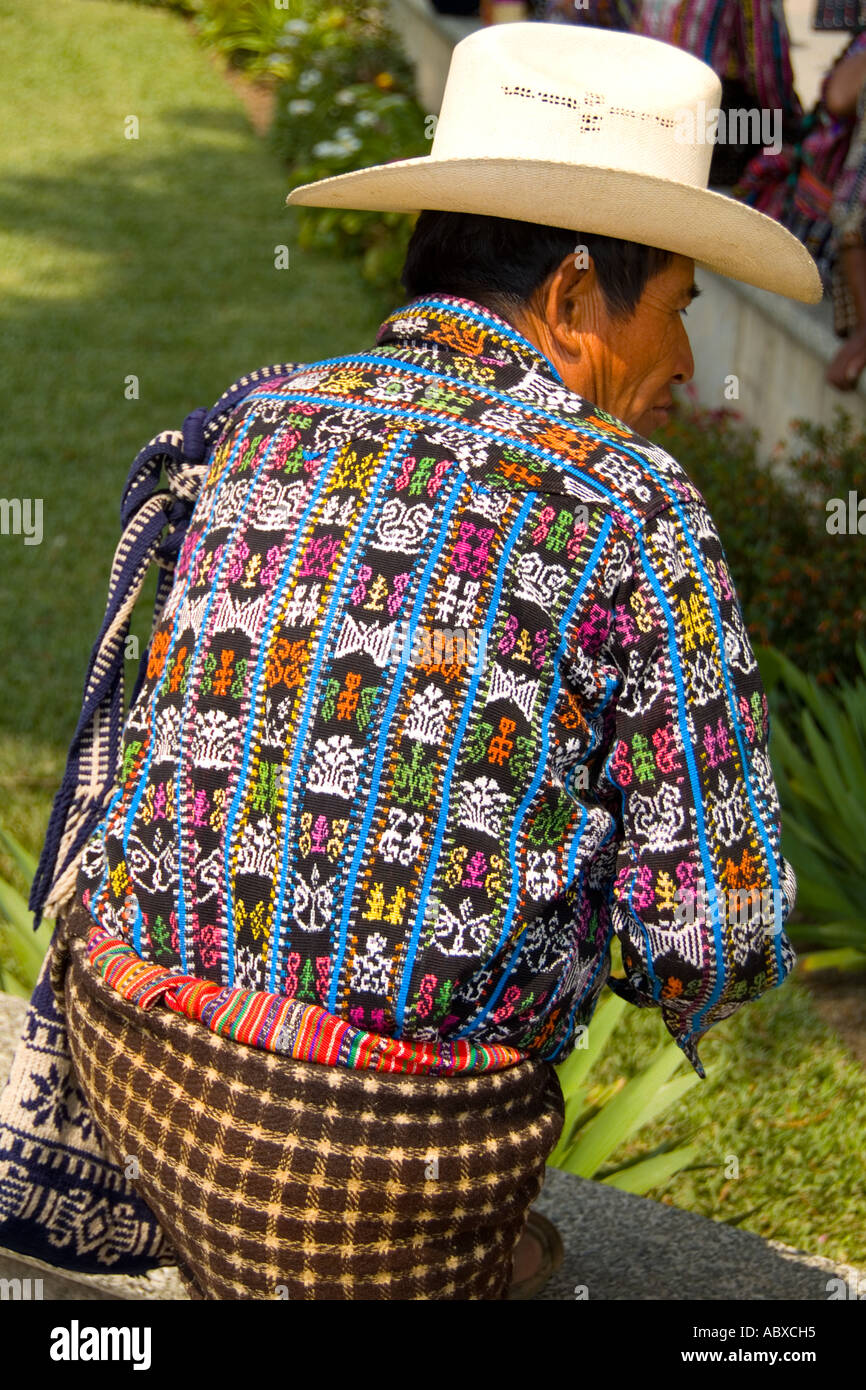 Colorful Print Patterned Clothes Of Men In The Famous Market Day Color Highlands Village Solola Guatemala