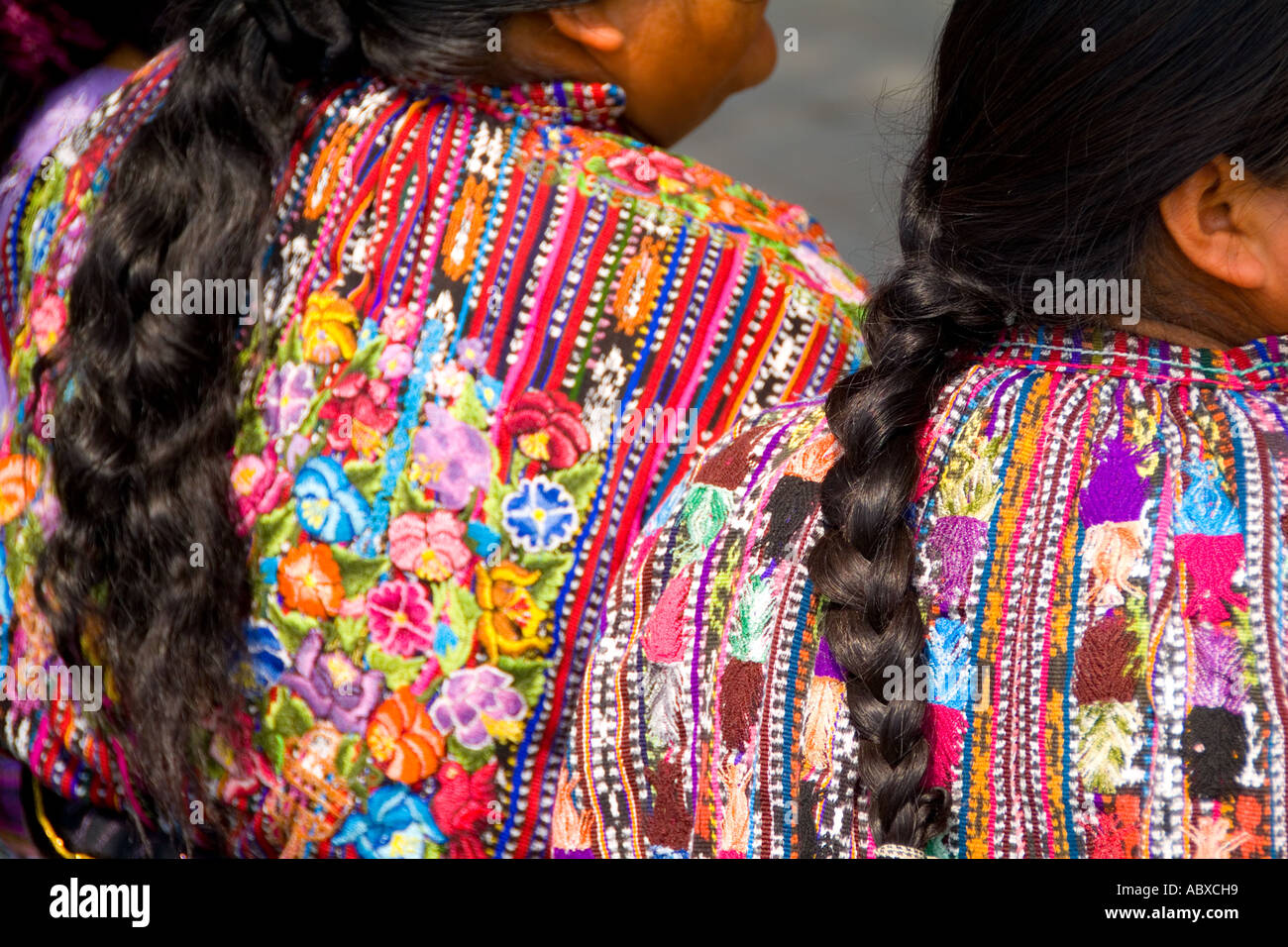 Colorful Print Patterned Clothes Of The Women In Famous Market Day Color Highlands Village Solola Guatemala