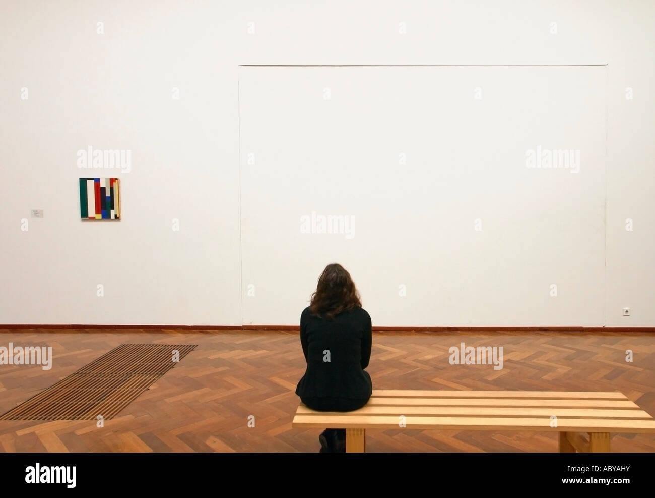 Amsterdam holland modern art exhibition in stedelijk museum what amsterdam holland modern art exhibition in stedelijk museum what is art woman seated staring at empty space on wall sciox Images