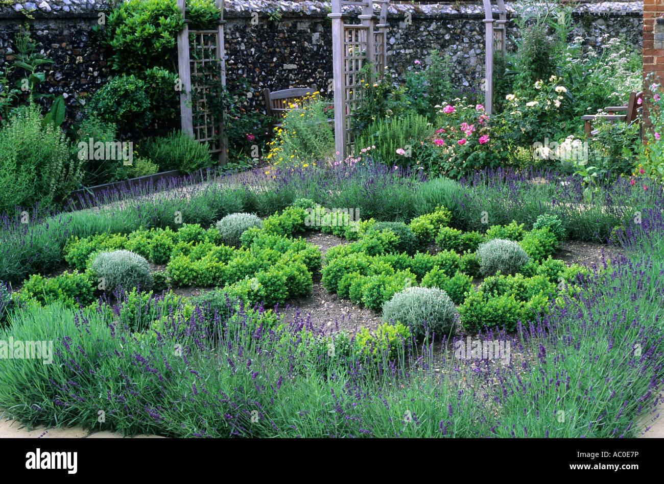 Herb Knot Garden Lavender Box Hedges Trellis Arches Stock