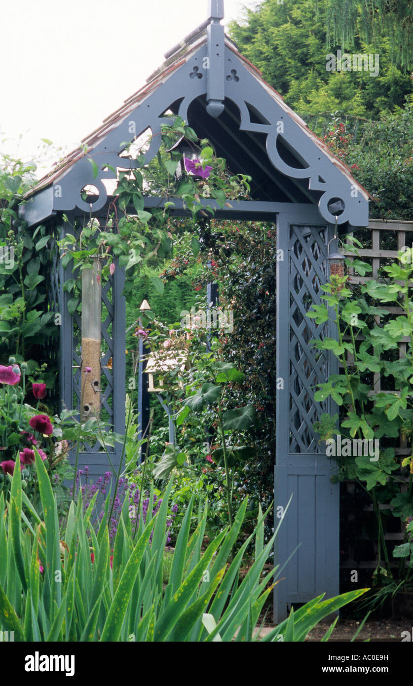 pergola in garden setting blue painted wooden wood feature arch