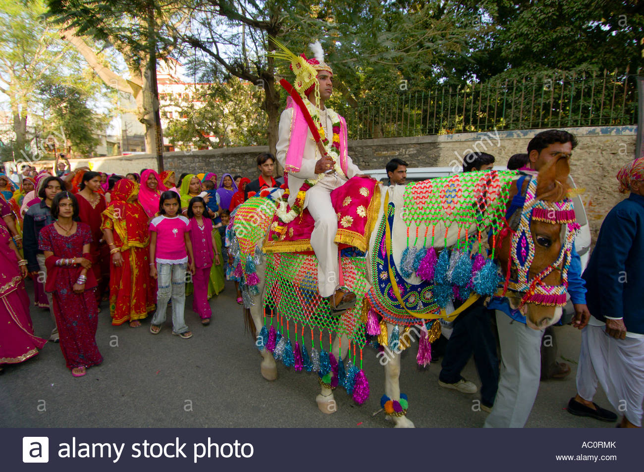 Bride groom riding a horse in a wedding procession udaipur rajasthan bride groom riding a horse in a wedding procession udaipur rajasthan india junglespirit Images