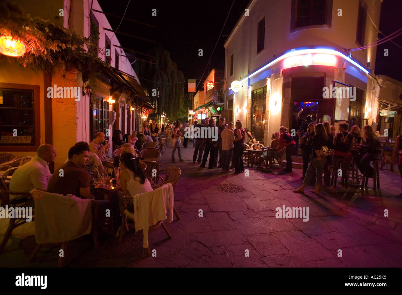 Gallery images and information kos greece nightlife - View Inside Busy Bar Street With A Lof Of Cafes And Bars At Night Kos Town