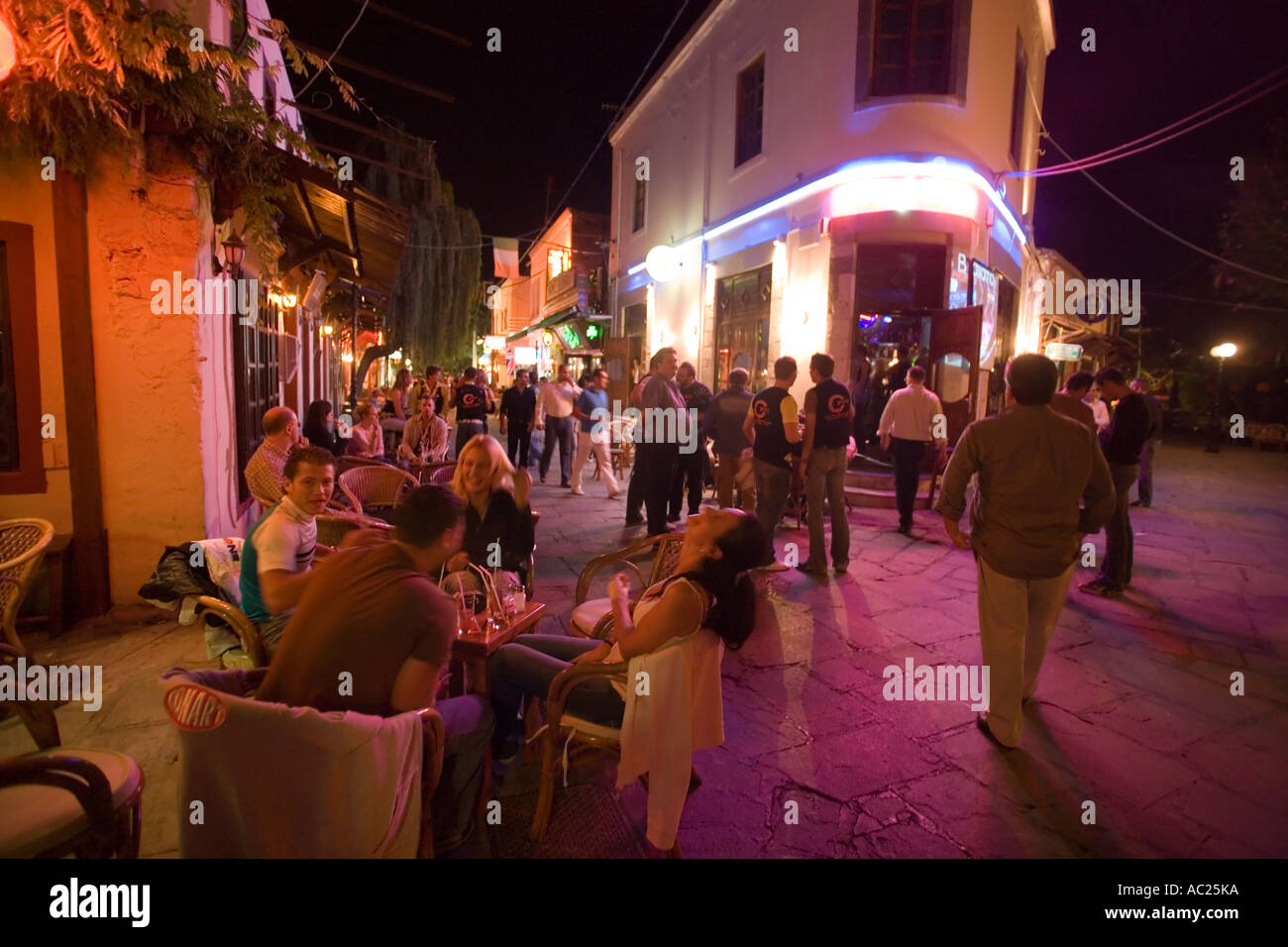 Gallery images and information kos greece nightlife - Stock Photo View Inside Busy Bar Street With A Lof Of Cafes And Bars At Night Kos Town Kos Greece