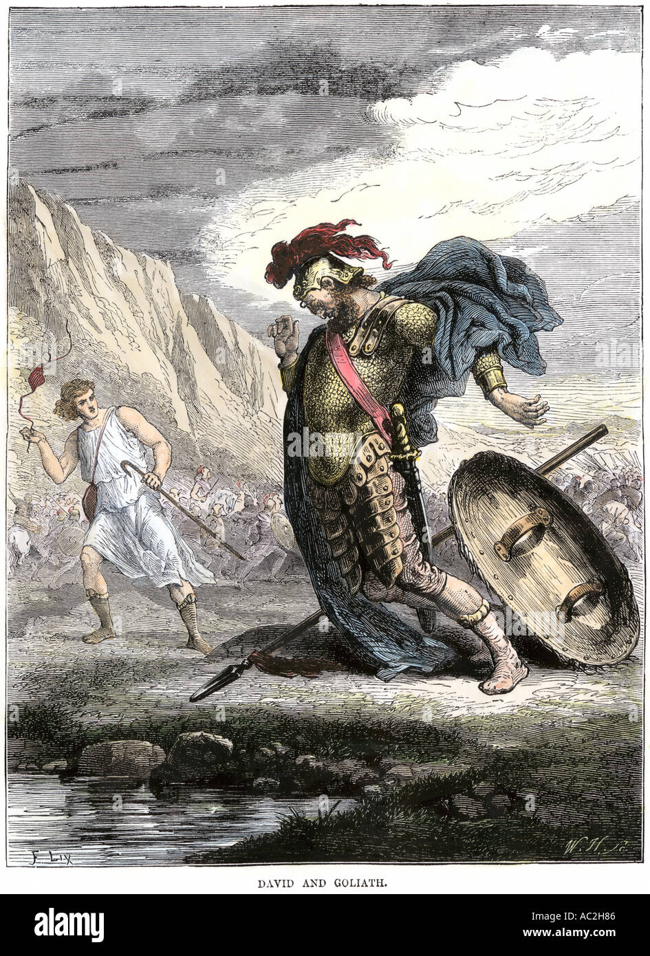 david using his sling to bring down the philistine giant goliath