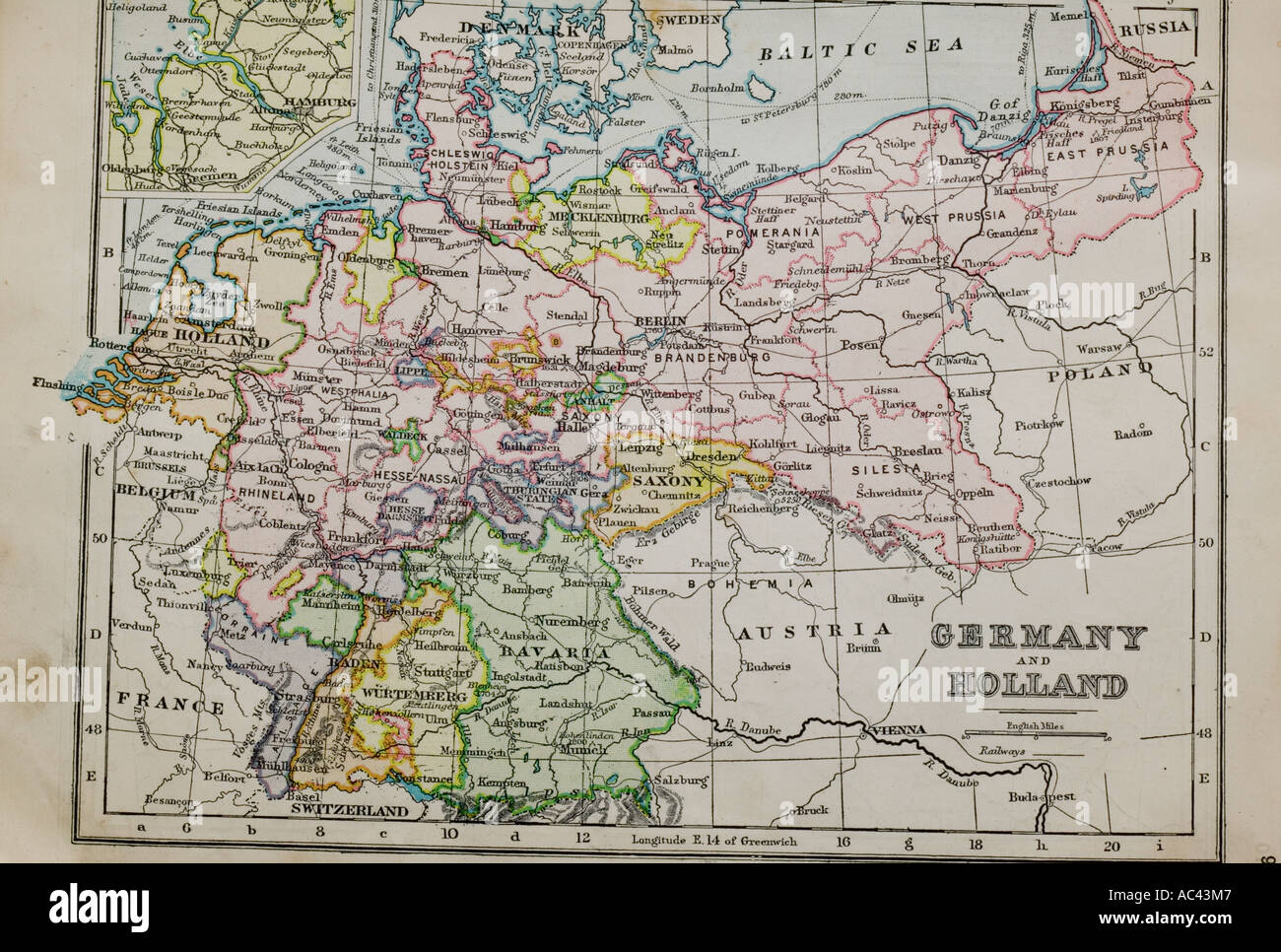 An Old Year Old Map Of Germany And Holland Stock Photo - Germany map by year