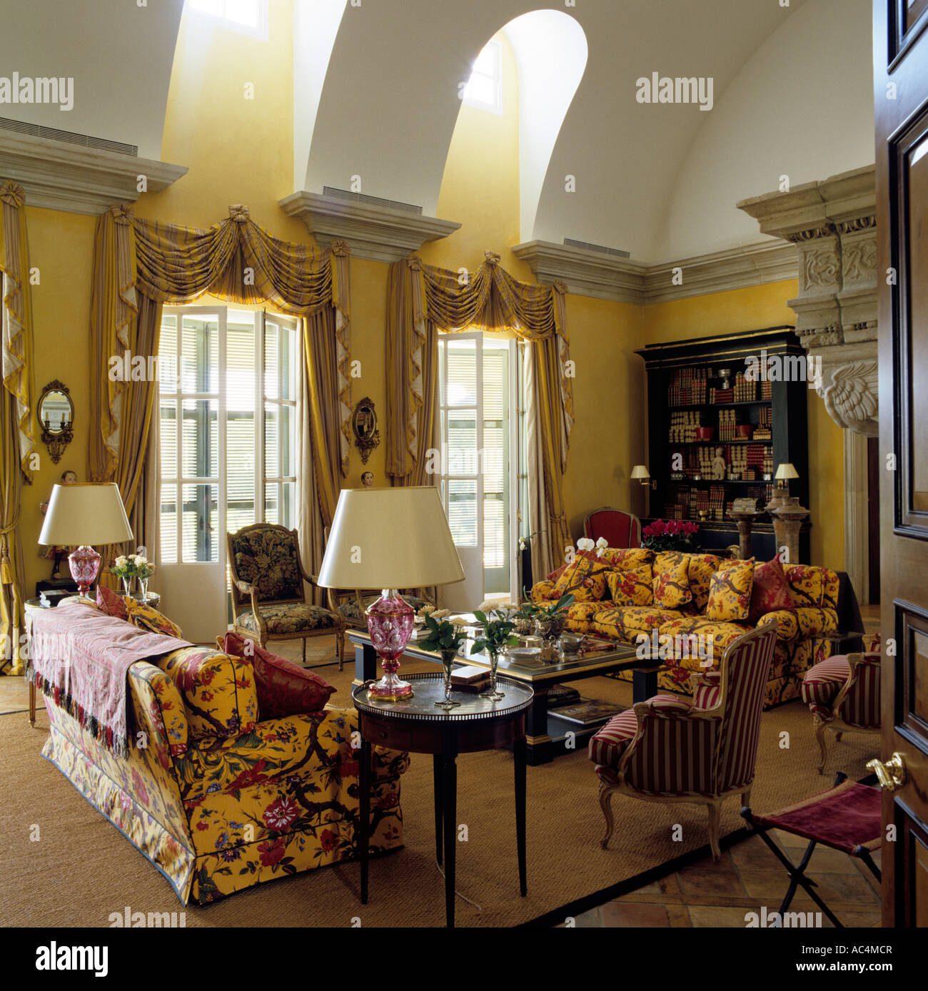 Patterned sofa in drawing room with vaulted skylight Stock Photo ...