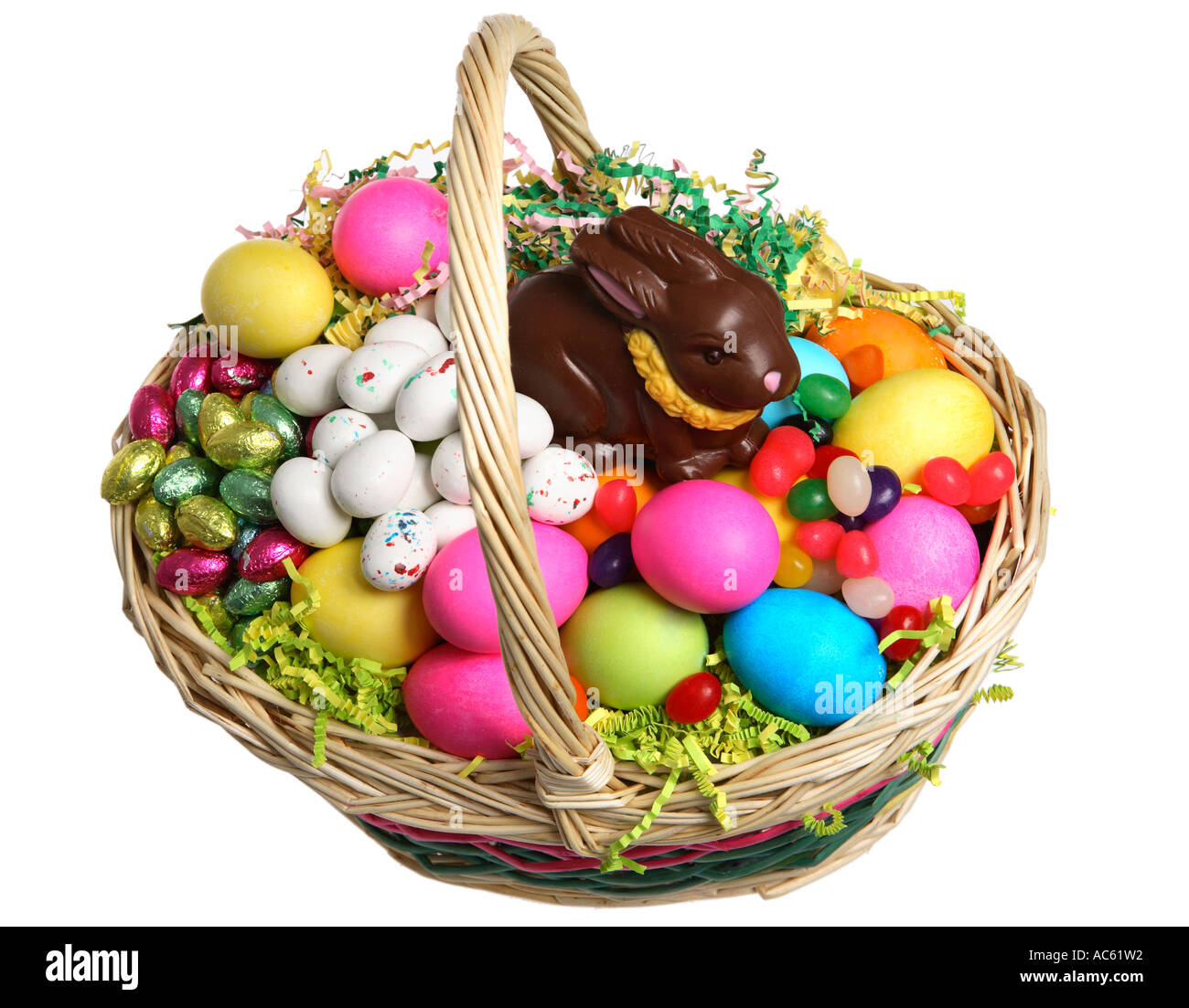 Easter Basket Filled With Eggs And Candy