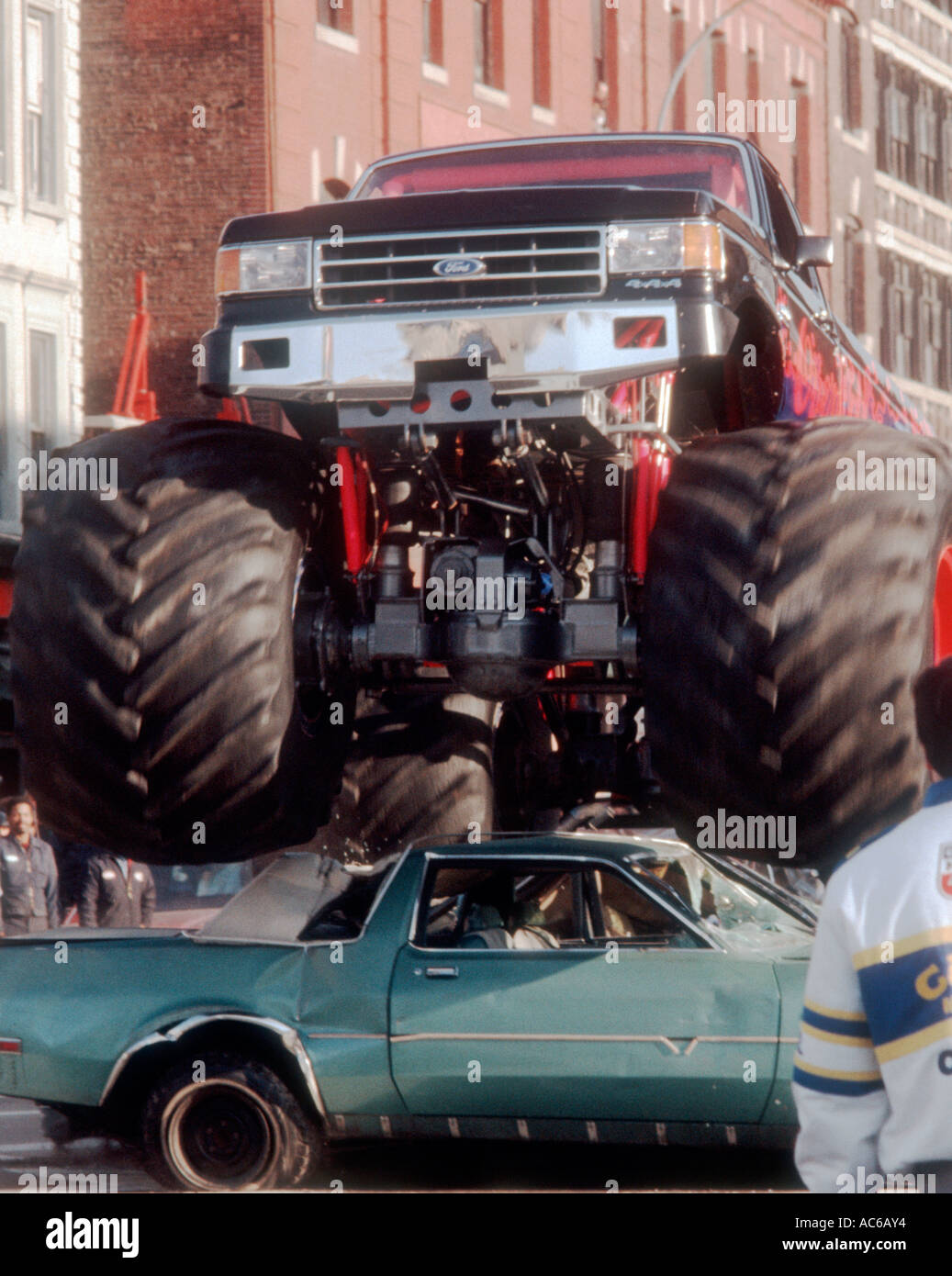 Demonstration Of Monster Truck Crushing Car Stock Photo Royalty