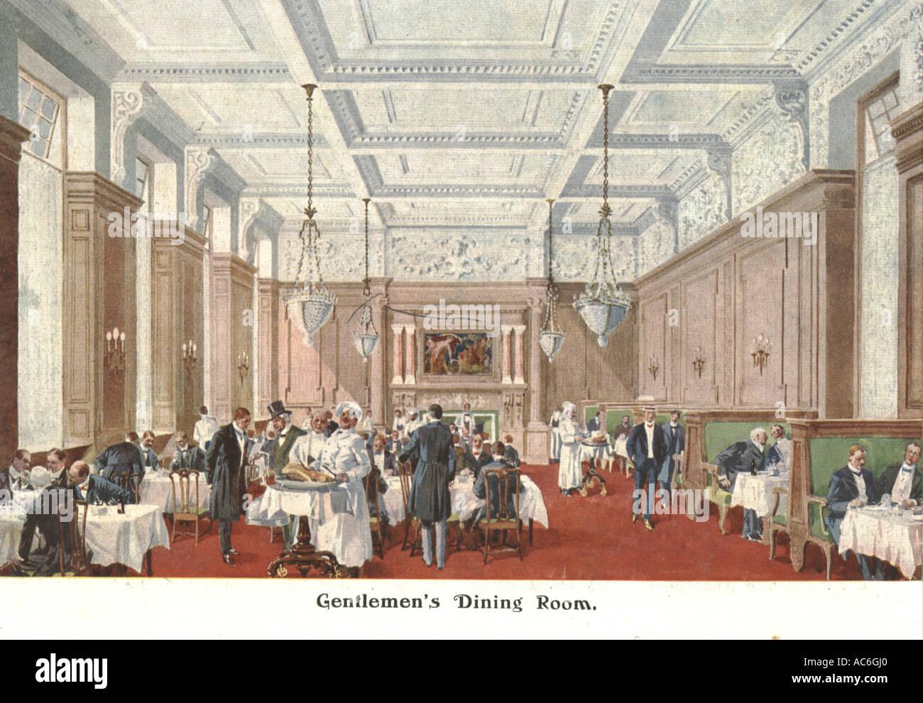 gentlemen's dining room, 1906, simpson's in the strand, london