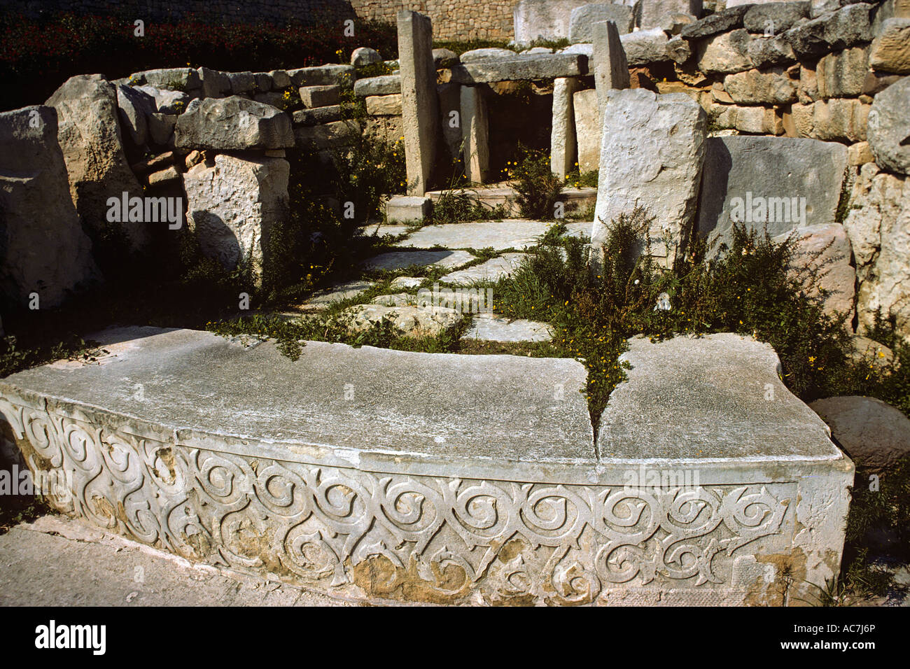Carved Stone Slab : Carved and decorated stone slab in front of altar within