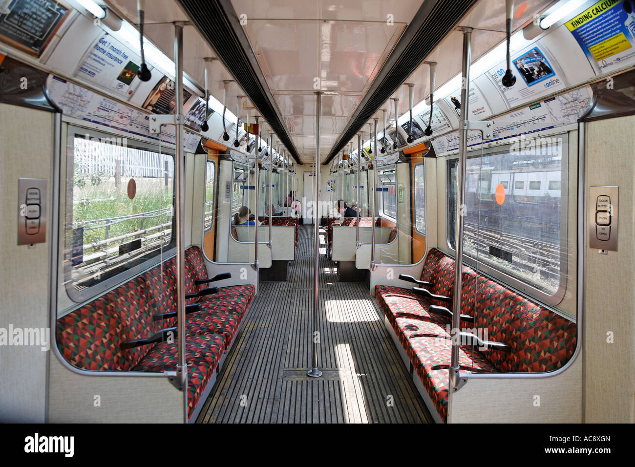 Empty Interior Of A Tube Train London Uk Europe Stock Photo ...