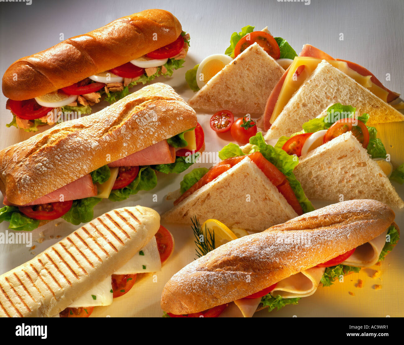 Rolls and sandwiches Tuna and egg salad Swiss cheese and ham..