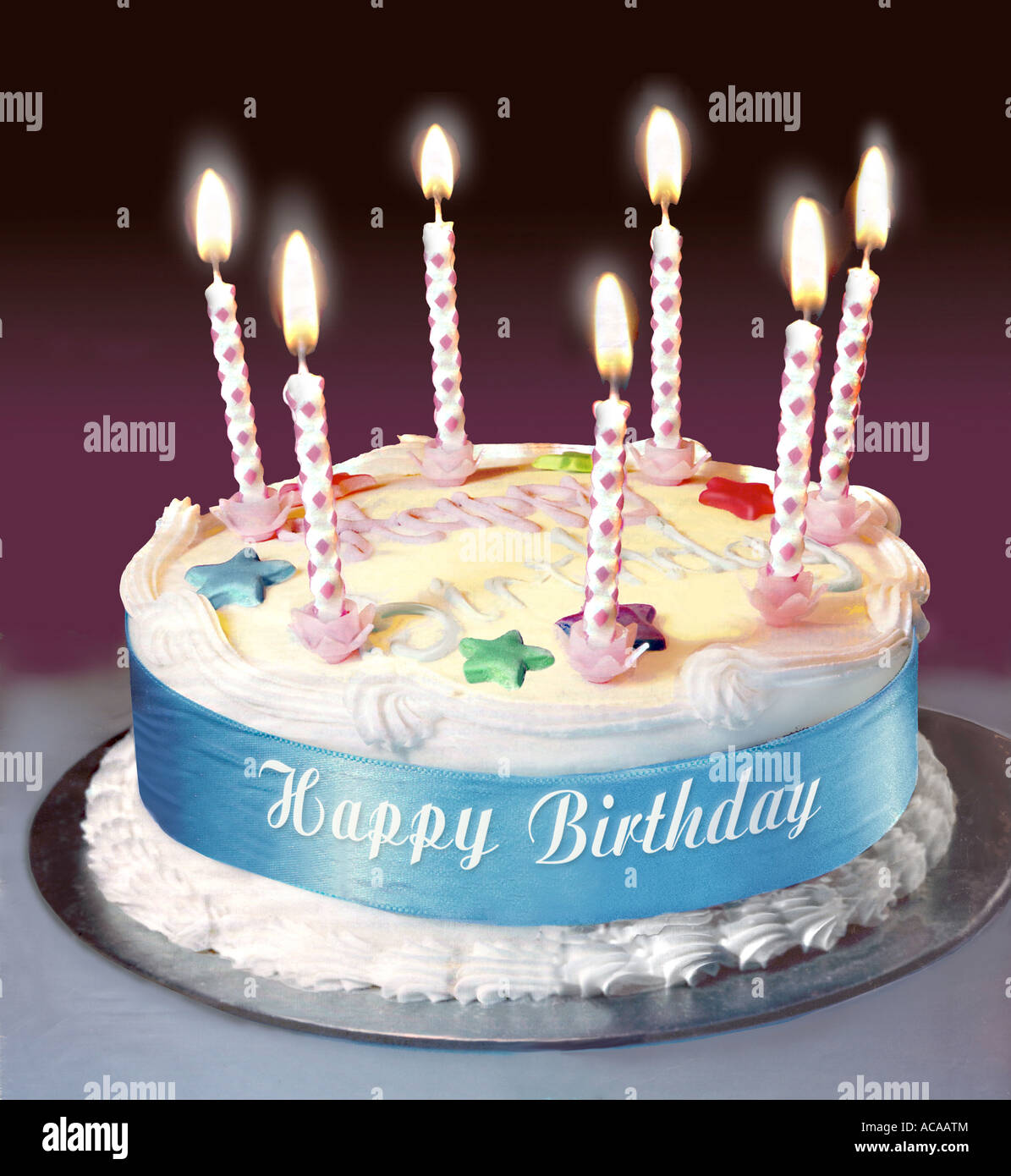 Happy Birthday Cake with candles Stock Photo, Royalty Free ...