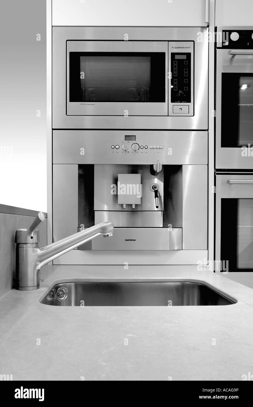 kitchen interior, stainless steel, oven cooker, sink, tap