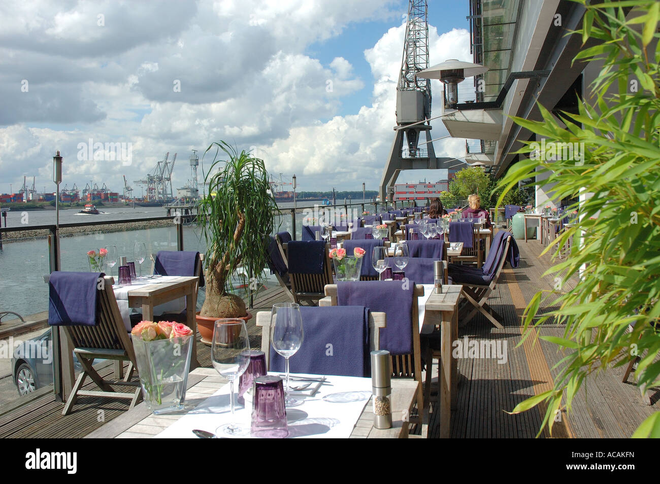 terrace restaurant au quai at the elbe river altona hamburg stock photo royalty free image. Black Bedroom Furniture Sets. Home Design Ideas