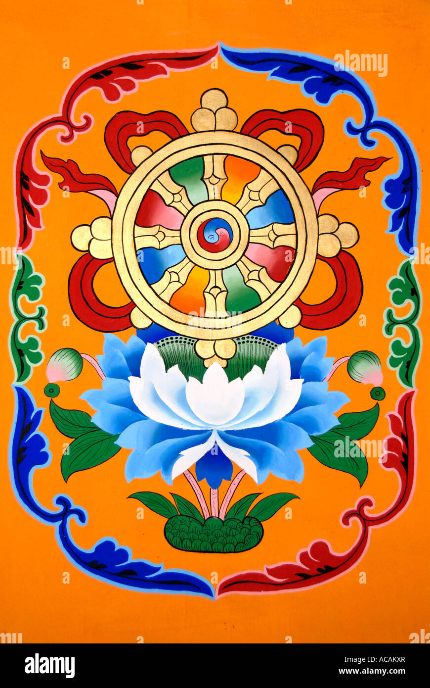 Tibetan buddhism painting symbol wheel of life above lotus flower tibetan buddhism painting symbol wheel of life above lotus flower jokhang lhasa tibet china buycottarizona