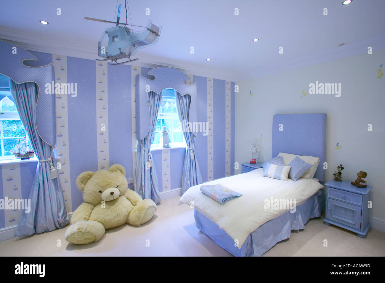 Stock Photo   childs bedroom of large home with huge teddy bear. Childs Bedroom Of Large Home With Huge Teddy Bear Stock Photo