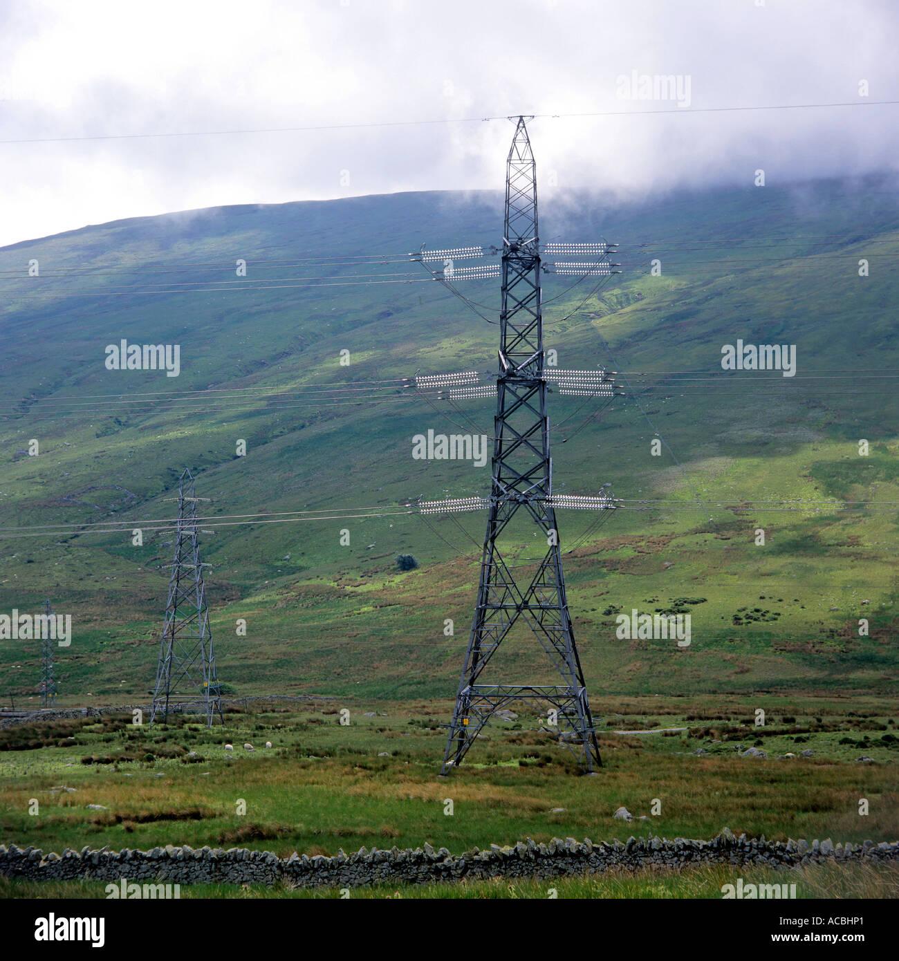power transmission lines near village of llanfairfechan wales ...
