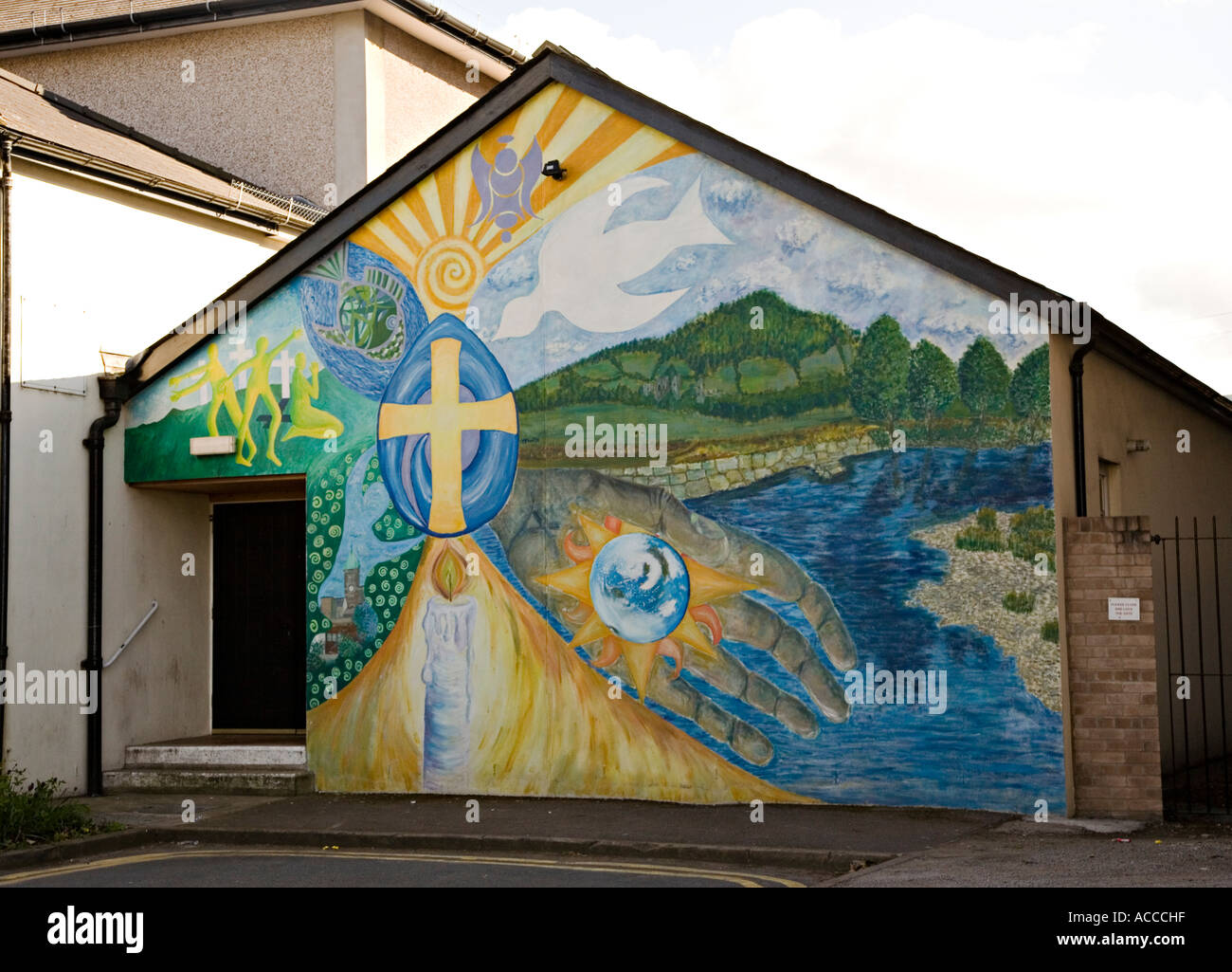Religious mural painted on a methodist church building for Christian mural